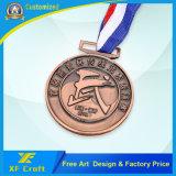 リボン(XF-MD23)が付いている記念品のための安いカスタマイズされた旧式な銅の金属の円形浮彫り