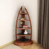 En forme de bateau Corner Book étagère en bois Meubles de salle de séjour