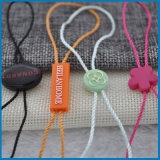 Étiquette en plastique de coup de chaîne de caractères de vêtement employé couramment, tablettes d'étiquette de joint