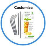 Aço inoxidável grau alimentício personalizado palha potável com Escova de Limpeza