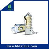 Disco doppio del USB del metallo dell'istantaneo impermeabile OTG micro 16GB 32GB U di memoria per il telefono /PC con la catena