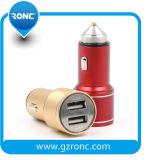 preço de fábrica Mini 5V 1A / 2.4A cor vermelho e amarelo USB duplas Carregador Veicular para Smartphone