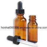 botella de petróleo esencial del ámbar 50ml con el cuentagotas de cristal