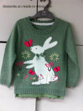 Crianças Sweater Meninas Intarsia Rabbit Kids Sweater