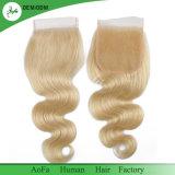 Da onda loura superior natural do corpo do fechamento do laço de 100% cabelo brasileiro de Remy