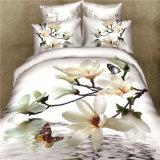 De bloem Afgedrukte 4PCS Reeks van het Blad van het Bed