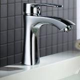 Rubinetto d'ottone del bacino della stanza da bagno della singola maniglia nel colpetto di acqua di rivestimento del bicromato di potassio