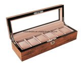 Acabado de alto brillo marrón antiguo reloj de madera Mostrar/Recogida el embalaje Caja de regalo con la ventana