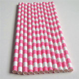 Pink Rugby Striped 100% Eco-Friendly Paper Straw