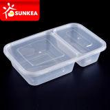 2つのコンパートメント透過使い捨て可能なプラスチック昼食の食糧ボックス