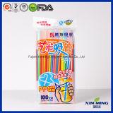 Artículos de fiesta color del arco iris de plástico pajas de beber artística