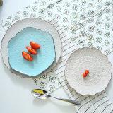 다색 꽃 레이스 기복 유약 사기그릇 격판덮개 또는 접시
