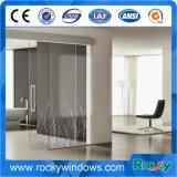 Profilo di alluminio Pocket poco costoso del portello scorrevole, portello scorrevole di vetro della stanza da bagno