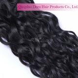 自然な波状の束の加工されていないDyeableのインドの寺院のバージンの毛の織り方