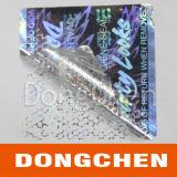 Rótulo de proteção de holograma de animal de estimação com prova de sabotagem de prata