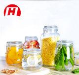 Tarro claro del almacenaje del alimento/tarro de cristal con el clip del metal