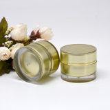 vaso cosmetico di lusso rotondo doppio acrilico dorato 10g