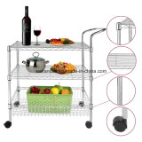 DIY 3 Tier Chrome Wire Shelving Rack para Bar Food Service Trolley