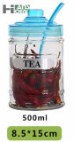 i colori 500ml tre puliscono il vaso di vetro di memoria tè/dell'alimento con i coperchi ed il cucchiaio di colori