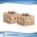 Rectángulo de empaquetado plegable ambiental del papel de Kraft para la torta del alimento (xc-fbk-025)