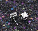 Moda Big Oval Stone Stainless Steel Jewelry Earring Stud