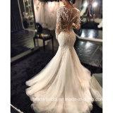 Vestidos de casamento completos Bz2014 do laço longo da sereia dos vestidos nupciais das luvas