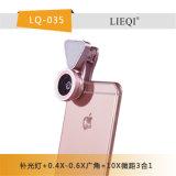 Diodo emissor de luz 3 em 1 luz da vara de Selfie da lente com a lente larga do macro de 0.6X Angle+10X