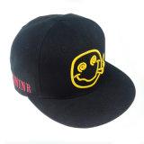 黒6のパネル3Dの刺繍の綿の急な回復の帽子