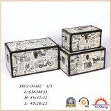 Meuble antique Toile en toile Boîte cadeau en bois Ensemble de 3 coffres en bois