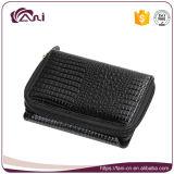 Оптовый малый черный бумажник женщин неподдельной кожи