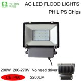 200W는 필요 운전사 LED 투광램프를 방수 처리하지 않는다