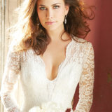 Elegante vestido de noiva com colar de bainha de renda completa (Wish-17)