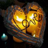 La vela sin llama electrónica teledirigida del LED enciende la decoración del partido del día de tarjeta del día de San Valentín de las lámparas de la vela el contellear de la llama de la simulación