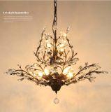 Sala 7-Lights Antique America Style Metal lâmpada de lâmpada de cristal lâmpada, acabado em preto / pintura de latão antigo