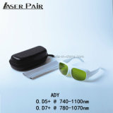 Óculos de segurança do laser para a 740-1100nm O. D 5+ 780-1070nm O. D 7+ com certificação CE com moldura branca para Alexandrite, 755nm&1064nm, 808&980nm Díodos, ND: YAG