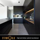 Gabinete de cozinha preto e preto com folheados de noz Tivo-0273h