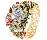 팔찌 -68 형식 꽃 Deisgn에 있는 호화스러운 다채로운 모조 다이아몬드 결혼식 Banlge