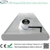 Al aire libre 15W LED luz solar calle WiFi cámara de circuito cerrado de televisión con sensor de movimiento