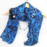 94*180cm Blau-Drucken-Schal für Frauen-Form-Zusatzgeräten-Voile-Schale