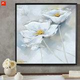 2 Stücke weiße Blumen-handgemachte Ölgemälde-auf Segeltuch