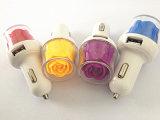 花のタイプを持つすぐに充満2 USBの携帯電話車の充電器