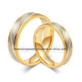 OEM/ODM Juwelen van de Verlovingsring van de Trouwring van het Staal van de Hoogste Kwaliteit van de fabriek de In het groot Goud Geplateerde