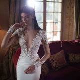 2017 vestido de novia de encaje de manga larga de cuello en V profundo atractivo (sueño-100104)