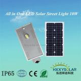 Caliente de fábrica moderno Sellling 10W Todo-en-uno de los LED Luz solar calle