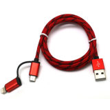 Nylon оплетка 2 в 1 кабеле USB для iPhone/Samsung