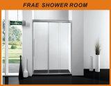 シャワー室の浴室のシャワー・カーテンの緩和されたガラスのシャワーボックスを滑らせる3つのドアの接続