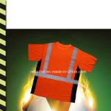100 % polyester fluorescent à bon marché de gros de la sécurité réfléchissant en vrac de T-Shirt polo chemises