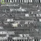 Placage de marbre noir normal de pierre de revêtement de mur en pierre de saillie, placage décoratif de mur de matériau de construction