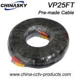 Vor-Gebildetes Kamera-Kabel mit BNC und Gleichstrom-Verbindern, CCTV-Koaxialkabel 25m (VP25FT)