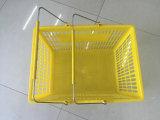 Panier à provisions en plastique bon marché avec deux traitements